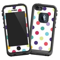 Polka Dot Explosion on White Skin for Iphone 5 LifeProof Case