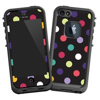 Polka Dot Explosion on Black Skin for Iphone 5 LifeProof Case