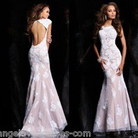 Cap Sleeve White/Nude Lace Mermaid Evening Dress Prom Pageant Formal Dresses