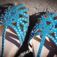 Bumper Zaire-14A Jeweled Cut Out Caged Flat Sandal (Blue) - Shoes 4 U Las Vegas