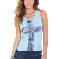 Galaxy Cross Lace-Back Tank