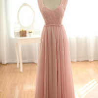 Blush Pink Peach Chiffon Wedding Dress Bridesmaid Dress Prom Dress Sweetheart Open See Through Back