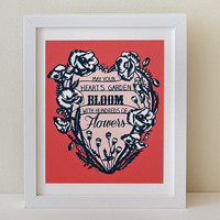 Your Heart's Garden - Print of Original Papercut - Inspirational Quote Illustration - 8x10