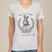 Pit Bull Lover Not A Fighter Eco Friendly Unisex V-Neck Tshirt