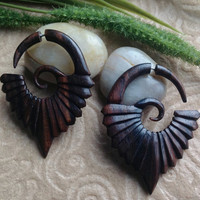 Fake Gauge Earrings, &quot;Annabel&quot; Naturally Organic, Hand Carved, Sono Wood, Tribal