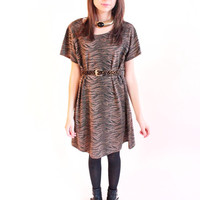 LIONS AND TIGERS 90s Black and Brown Rustic Tiger Striped Slouchy Dress