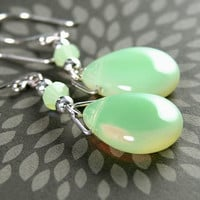 Mint Green Earrings Sterling Silver Milky Green Czech Glass Drop Earrings Pale Pastel Peridot Green Earrings
