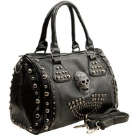 HOWEA Trendy 3D Devil Skull Studded Top Double Handle Doctor Style Bowler Satchel Shopper Tote Handbag Purse Shoulder Bag