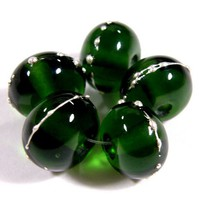 Shiny Transparent Sage Green Handmade Lampwork Glass Beads Fine Silver