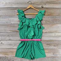 Green Meadows Ruffle Romper, Sweet Women&#x27;s Bohemian Clothing
