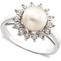 10k White Gold Ring, Cultured Freshwater Pearl &amp; Diamond Accent - Rings - Jewelry &amp; Watches - Macy&#x27;s