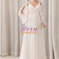 Unique Empire Spaghetti Straps V-Neckline Floor Length Chapel Train Ivory Wedding Dress