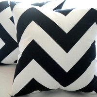 Designer pillow cover   Black white Large chevron by MicaBlue