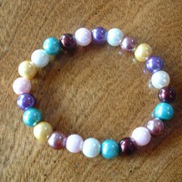 Multicolored Glass Pearl Bead Stretch Bracelet