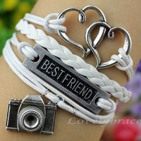 "Bracelet - ""best friend"" bracelet, mutual affinity bracelet, ancient silver bracelet retro camera, wax rope wire bracelet,"