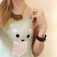 Polar Bear in a Pocket Pastel Tanktop