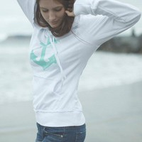 Live Life Anchored Raw Edge Pullover Hoodie Ladies White/Mint