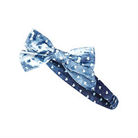Girls blue denim bow stretch headband - accessories - girls
