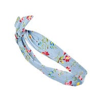 Girls blue floral denim wrap headband - accessories - girls