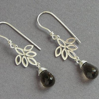 Dangle Leaves Earrings with Smoky quartz - Elegant Earrings - Sterling Silver Flower Earrings - Leaflet - Drop Earrings