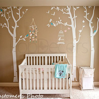 Three birch trees and birdcage - (102inch H) - Wall  Decals Stickers Home Decor by Pop Decors