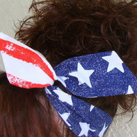 LARGE Dolly Bow, American Flag Stars and Strips Wire Headband Teen Womans