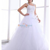 Beaded Ball Gown Dual Straps Cathedral Train Embroidery White Wedding Dress With Hand-made Flower