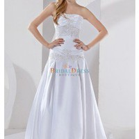 Applique Ruffles A-line Strapless Chapel Train Hi-low White Wedding Dress