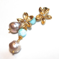 Caribbean Larimar Earrings Baroque Freshwater Pearl Gold Vermeil Dangle Gemstone Jewelry