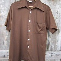 70s Brown California Shirt w/ White Stitch, Men&#x27;s L // Vintage Short Sleeve Summer Shirt