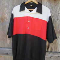 80s White Red Black Striped Polo Shirt, XL // Vintage Short Sleeve Summer Shirt