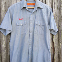 80s Blue Workshirt, Men&#x27;s L, Name Embroidery &quot;Wayne&quot;  // Mens Vintage Short Sleeve Summer Work Shirt