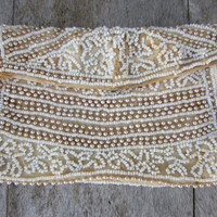 30s Beaded Cream Purse // White Evening Clutch // Vintage Cream Seed Beaded Wedding Pouch
