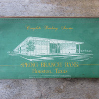 60s/70s Grass Green Bank Bag, Houston Texas // Rifkin Coin Bag // Spring Branch Bank // Zipper Vintage Clutch