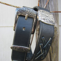 90s Navy Southwestern Concho Leather Belt, 75-33 cm / 29-33 in // Vintage Cowgirl Belt // Hippie Western Belt