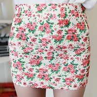 Vintage Flower Elastic Mini Skirt from FUNKISS