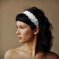 BRIDAL HAIR BAND wedding hair accessory crochet lace lacy oryginal and elegant very feminine white color