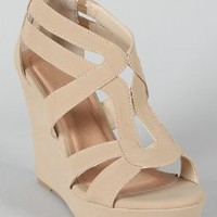 Amazon.com: Lindy 03 Strappy Open Toe Platform Wedge Beige: Shoes