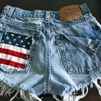 Levis High waist destroyed denim shorts super frayed with US flag and studs size XX Small