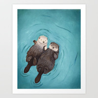 Otterly Romantic - Otters Holding Hands Art Print by When Guinea Pigs Fly