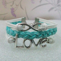 Infinity Bracelet.Love Symbol Bracelet,White Wax Cords and Blue Braid bracelet.
