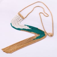 Fashion Gold Chain Color Blocking Long Tassel Pendant Necklace wholesale