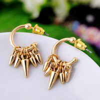 Cool Gold Punk Style Spiked Drop Earrings wholesale
