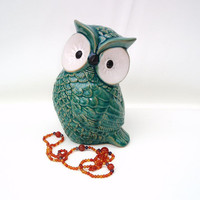 Ceramic Owl Figurine, Turquoise, Woodland Animal, Nursery Decor / Blue Green