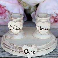 Wedding Unity Candle Holder Set Shabby Chic Decor (item P10315)