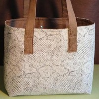 Snakeskin Print Tote in Natural and Brown
