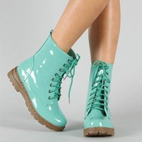 Shiny Mint Green Combat Boots Mid Calf Military Lace Up Pretty Fashion Trendy