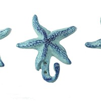 Amazon.com: Starfish Wall Hangers Cast Iron Antique Blue - Set of 3 for Coats, Aprons, Hats, Towels, Pot Holders, More: Office Products