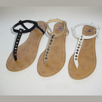 Dora Studded T-Strap Sandals (Multiple Colors Availble) - Dwellings