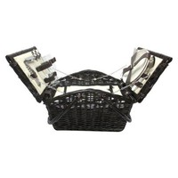 Evergreen Wicker Complete Picnic Basket - Black